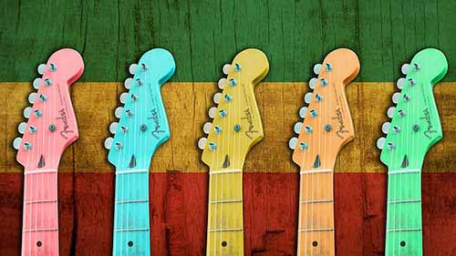 Colorful-Electric-Guitar-Headstocks---Fender