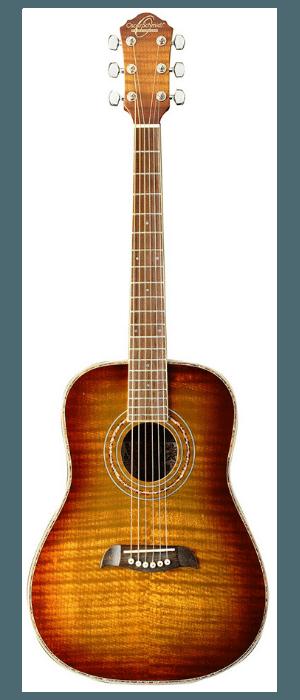 Oscar Schmidt OG1FYS-A-U 34 Size Dreadnought Acoustic Guitar (High Gloss)Flame Yellow Sunburst