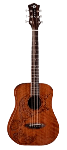 Luna Safari Series Tattoo Travel-Size Dreadnought Acoustic Guitar