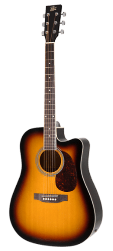 Rogue RA-110D-CE Dreadnought Cutaway Cheap Acoustic-Electric Guitar Sunburst