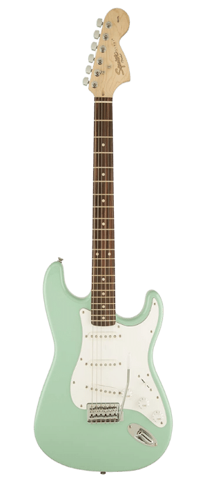 Best Beginner Electric Guitar - Squier by Fender Affinity Series Stratocaster Electric Guitar - Laurel Fingerboard - Surf Green