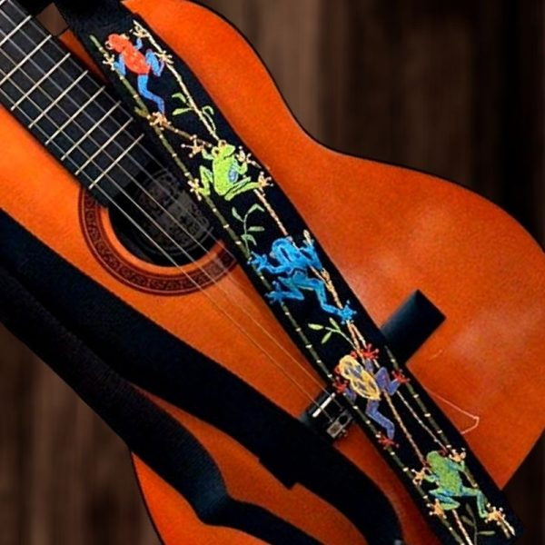 Amazon Rain Forest Tree Frogs Guitar Strap - Hand Embroidered