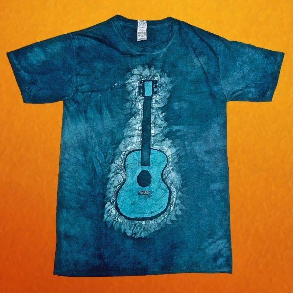 Batik Blue Acoustic Guitar T-Shirt