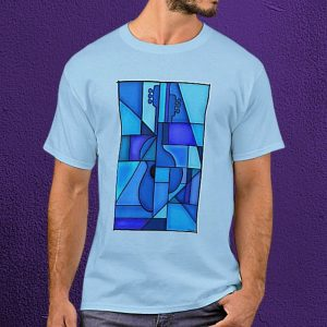 Blue and Blues Guitar Cubist T-Shirt