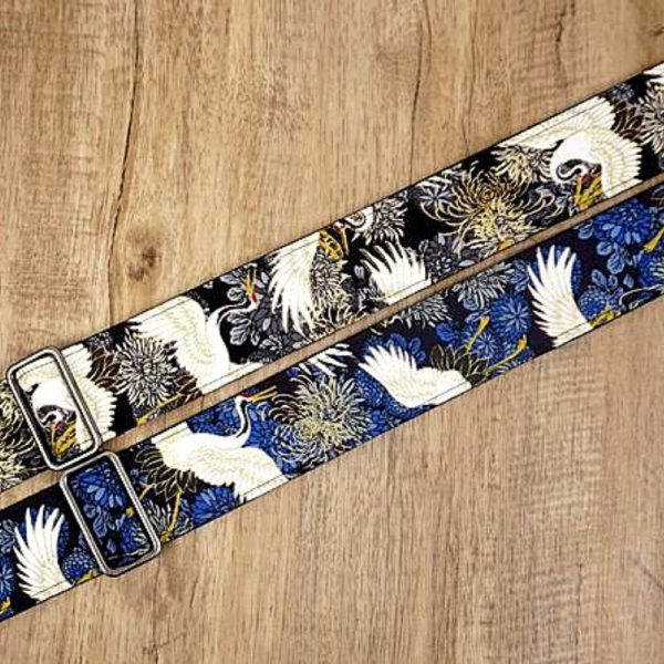 Crane and Chrysanthemum Guitar Strap
