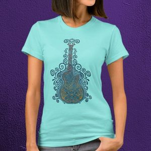 Fancy Day of the Dead Guitar T-Shirt