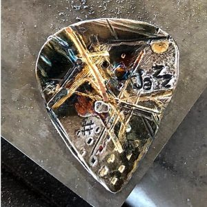 Gold and Silver Industrial Graffiti Style Guitar Pick