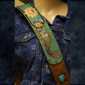 Hand-Painted Golden Lotus and Koi Leather Guitar Strap