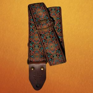Ornate Antique Orange and Turquoise Guitar Strap