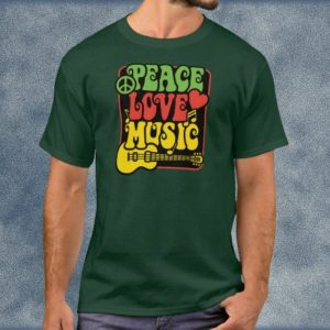 Peace, Love, Music Dark Green T-Shirt