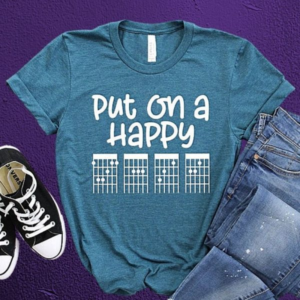 Put on a Happy F-A-C-E Guitar Chord T-Shirt