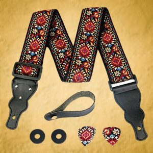 Red Vintage Woven Guitar Strap