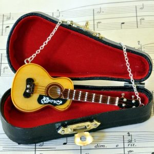 Acoustic Guitar Necklace with Miniature Guitar Case