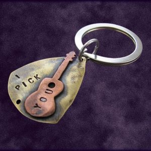 Brass & Copper Personalized Guitar Pick Keychain