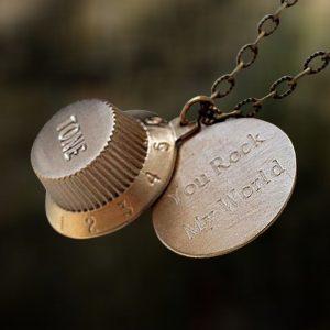 Bronze Fender Guitar Knob Locket Necklace