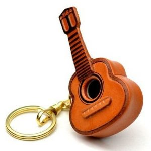 Classical Guitar 3D Leather Keychain