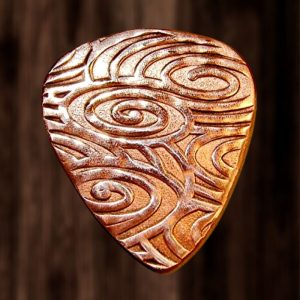 Copper Guitar Pick with Swirling Waves of Sound