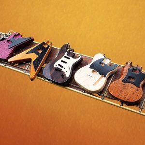Custom Wood Electric Guitar Keychain