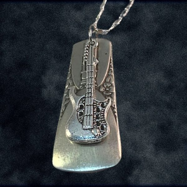 Electric Guitar on Silverware Pendant with Chain