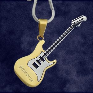 Engraved Electric Guitar Keychain Pendant