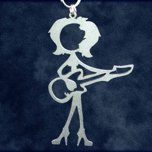 Female Guitar Player Stick Figure Keychain