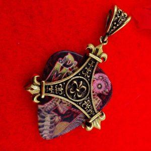 Guitar Pick Pendant Holder Necklace - Fleur De Lis
