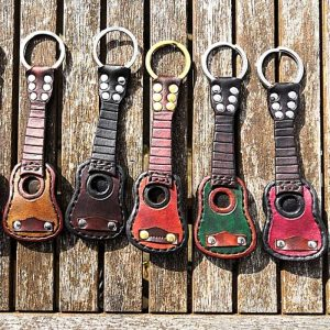Handmade Leather Guitar Keyring with Pick Holder