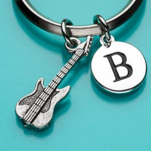 Lefty Flip Electric Guitar Pewter-Brass Keychain