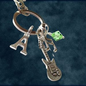 Personalized Guitar and Music Charm Keyring