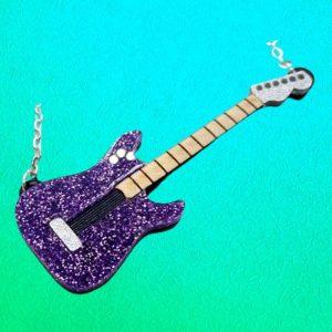 Purple Glitter Guitar Necklace