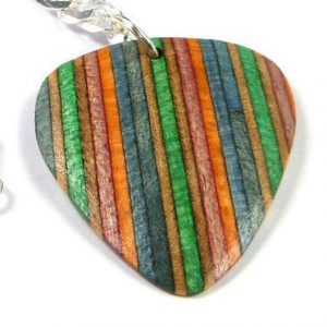 Recycled Skateboards Guitar Pick Necklace