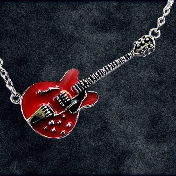 Red Semi-Hollow Body Electric Guitar Necklace