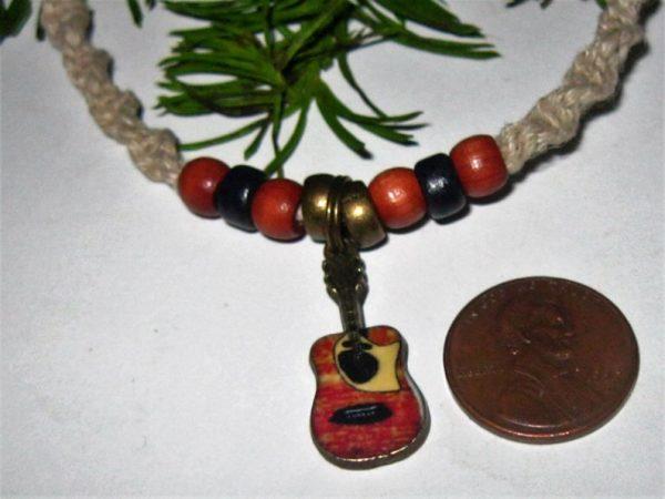 Tiny Acoustic Guitar on Hemp Choker Necklace 2