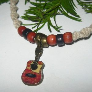 Tiny Acoustic Guitar on Hemp Choker Necklace