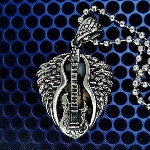 Winged Strat Guitar Pick Pendant Holder Necklace
