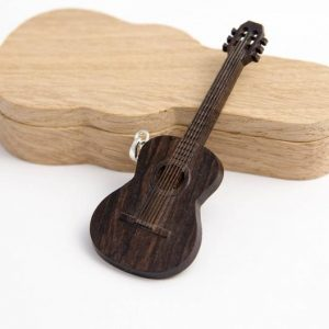 Wooden Classical Guitar Necklace Pendant