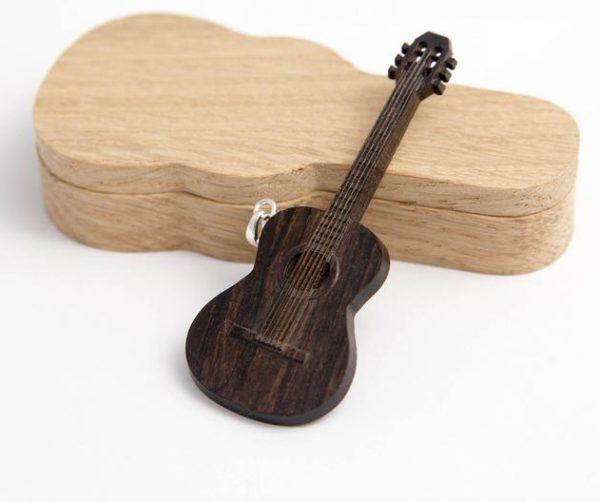 Wooden Classical Guitar Necklace Pendant